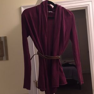 Eggplant purple shawl neck cardigan